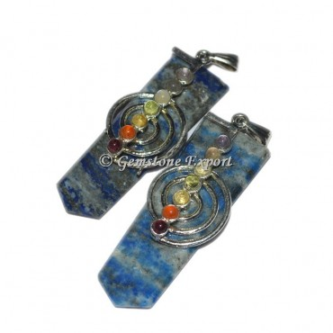 Lapis Lazuli Flat Pencil Pendants With Chakra Stone