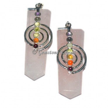 Rose Quartz Flat Pencil Pendants With Chakra Stone