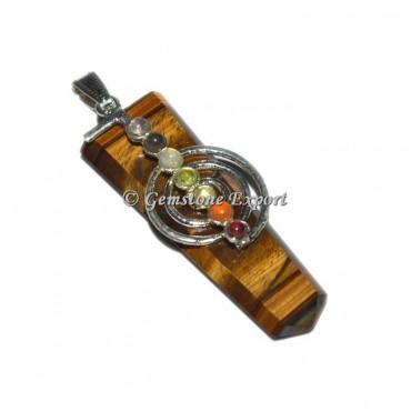 Tiger Eye  Flat Pencil Pendants With Chakra Stone