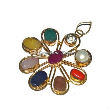 9 Chakra Stones Golden Pendant