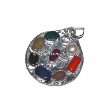 Round 9 Chakra Stone silver Pendants