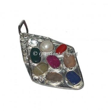 Agate Silver Antique Design 9 Chakra Pendant