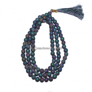 Rainbow Plated Druzy Beads Jap Mala