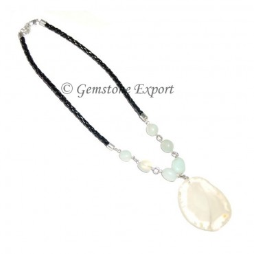 White Onyx Slices Necklace