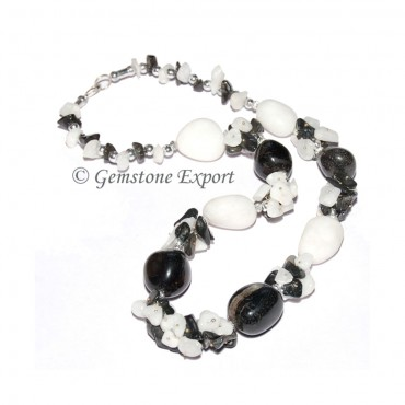 White & Black Agate Fashion Necklace