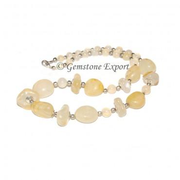 Yellow Onyx Tumbled Stone Necklace