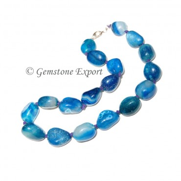 Blue Onyx Tumbled Stone Necklace