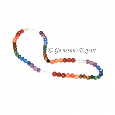 Seven Chakra Round Beads Necklace
