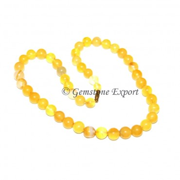 Yellow Onyx Round Beads Necklace