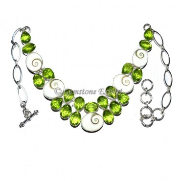 Peridot and Seashell Necklace