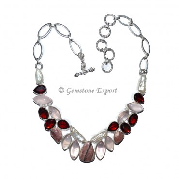 Opal and Quartz and Rhodonite Necklace