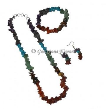 7 Chakra Stone Set Necklace With Turquoise
