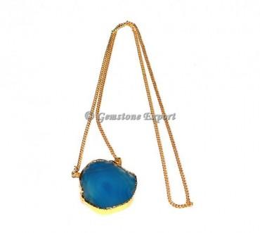 Blue Onyx Slice Agate Necklace