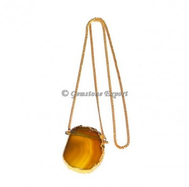 Yellow Onyx Slice Agate Necklace