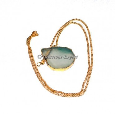 Green Onyx Slice Agate Necklace