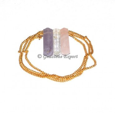 Quartz Pencil Pendants With Golden Chain