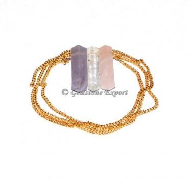 Quartz Pencil Pendants With Golden Chain