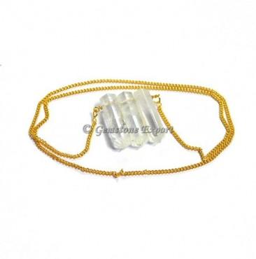 Crystal Quartz Pencil Pendants With Golden Chain