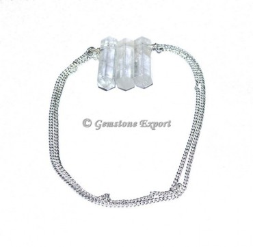 Crystal Quartz Pencil Pendants With Silver Chain
