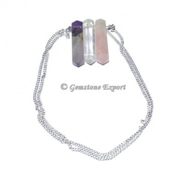 Quartz Pencil Pendants With Silver Chain