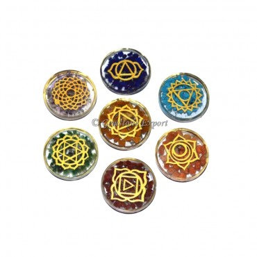 Orgone Engraved Chakra Set in Disc Shape