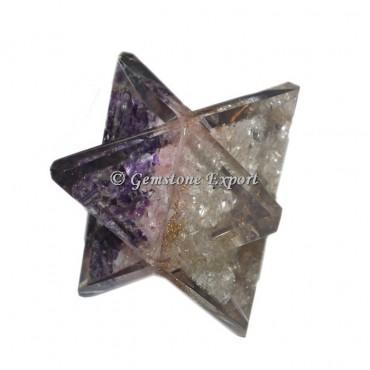 Rose-Amethyst-Crystal Quartz Orgonite Merkaba Star