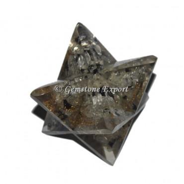 Crystal -Black Orgonite Merkaba Star
