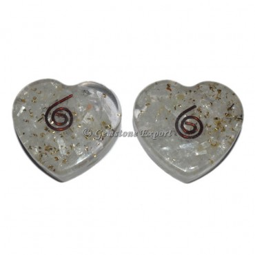 Crystal Quartz Orgone Heart