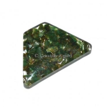 Green Jade  Triangle Cut Orgonite Cabs