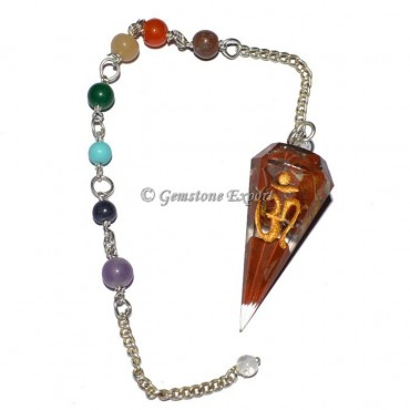 Orgone Red Jasper Pendulums with Om