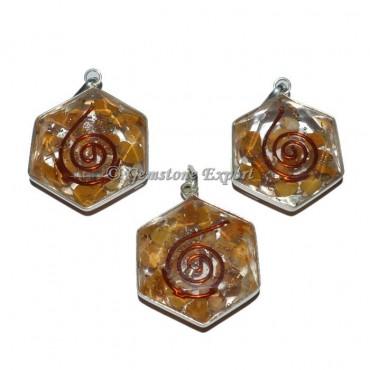 Golden Quartz Orgonite Energy Pendant