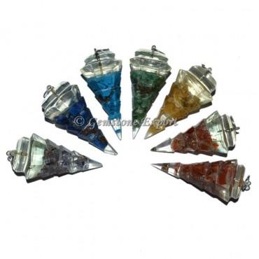 7 Chakra Stones Orgone Pendulum Pendant Set