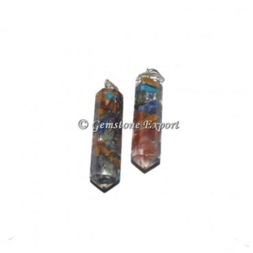 7 Chakra  Orgonite Pencil Pendant