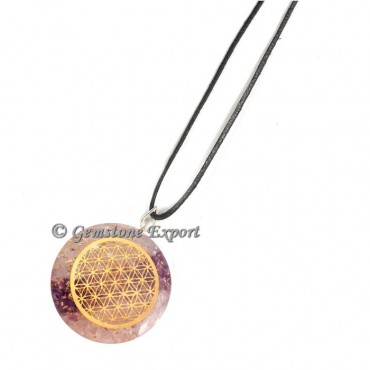 Rose And Crystal  Flower Of Life Pendants