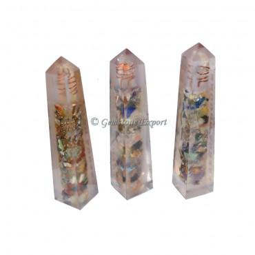 Mix Chakra Gemstone Orgone Obelisk Healing Tower