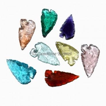 Colorfull Glass Heart Cut Arrowheads