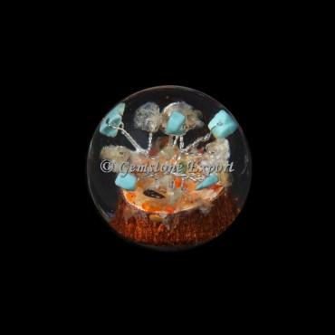 Turquoise Tree Orgonite Sphere