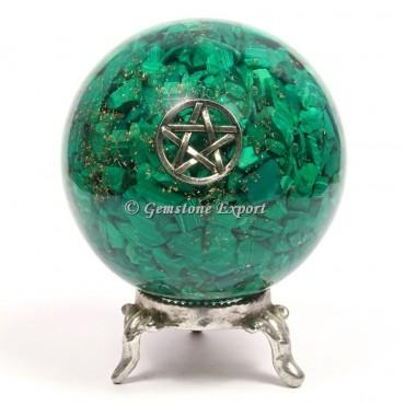Malachite Star Reiki Orgonite Sphere