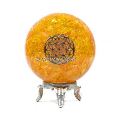 Golden Quartz Flower Reiki Orgonite Sphere