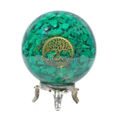 Malachite Tree Of Life Orgonite Sphere