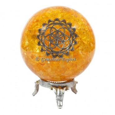 Golden Quartz Orgonite Sphere