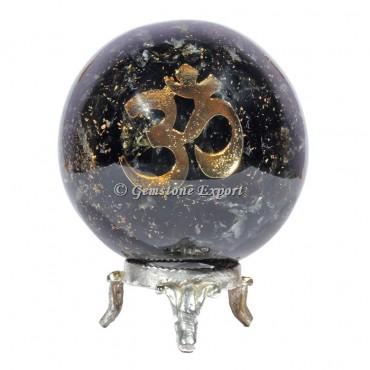 Black Tourmaline Om Reiki Orgonite Sphere