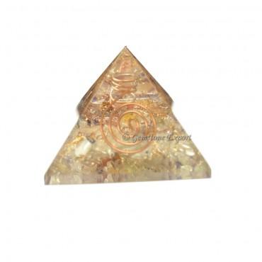 Crystal Quartz Orgone Pyramid with Crystal Point