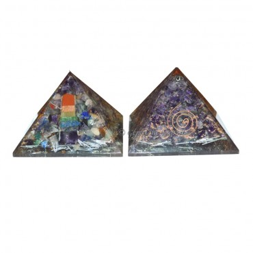 Amethyst Energy Orgone Pyramid with Chakra Pencil