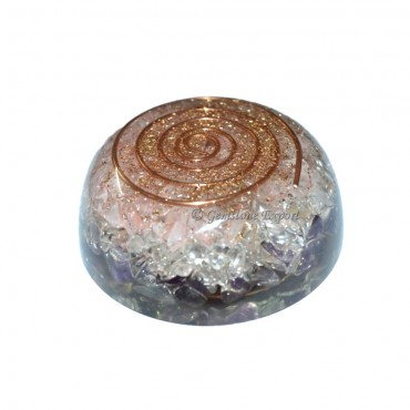 Amethyst And Rose Quartz Orgone Coil Dome