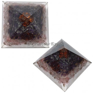 Amethyst With Rose Quartz Orgonite Pyramid