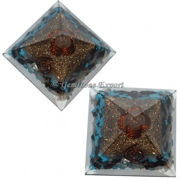 Turquoise With Crystal Quartz Orgonite Pyramid