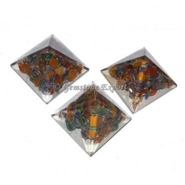 Chakra Gemstones Small Orgonite Pyramid