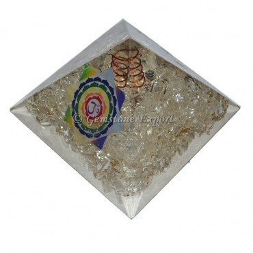 Crystal Quartz Colorful Printed Orgonite Pyramid