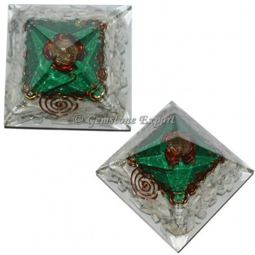 Howlite With Green Jade Orgonite Pyramid